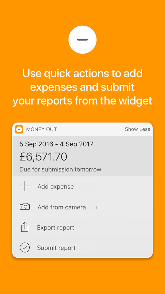 Use quick actions to add expenses and submit from the widget