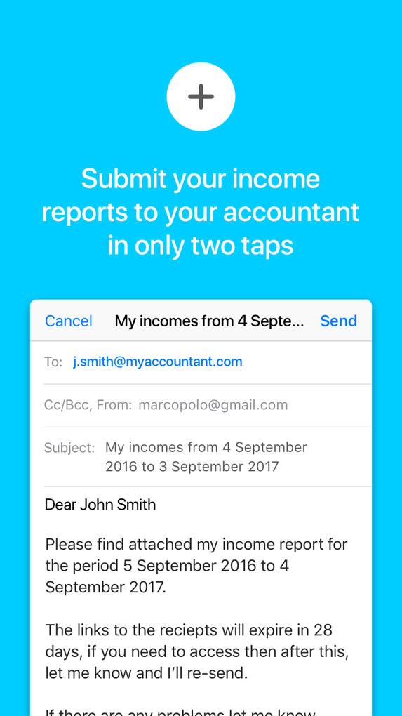 Submit your income reports to you accountant in only 2 taps